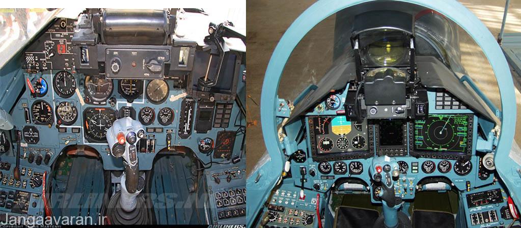 تفاوت کابین سوخوی27 پی(و نسخه صادراتی اس ام) در تصویر سمت چپ و نسخه ارتقاء یافته اس کا ام (سمت راست)