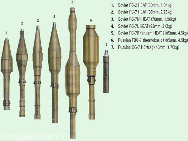 مهمات های مختلف قابل پرتاب از ار پی جی 7