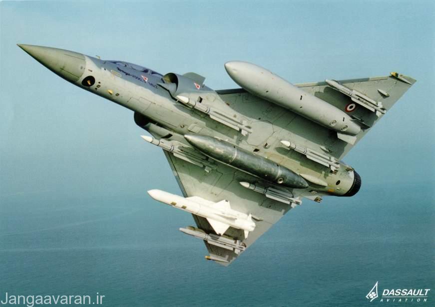 میراژ 2000 سری 5 مجهز به چهار موشک هدایت رادار فعال میکا دو نسخه هدایت تصویر ساز فروسرخ و یک تیره موشک اگزوست