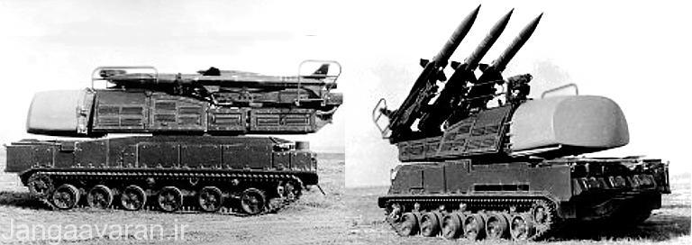 تصویری از خودروی حامل 9 ای 38 مجهز به رادار 9 اس 35 فایر دومی سامانه سام 11 در حالی که بر روی ان موشک 3 ام 9 سامانه سام 6 است