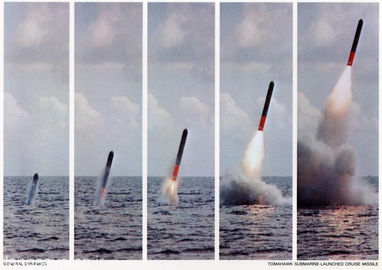 یو جی ام 109 نسخه زیر دریایی پرتاب و نحوه خروج از اب و روشن شدن بوستر راکتی