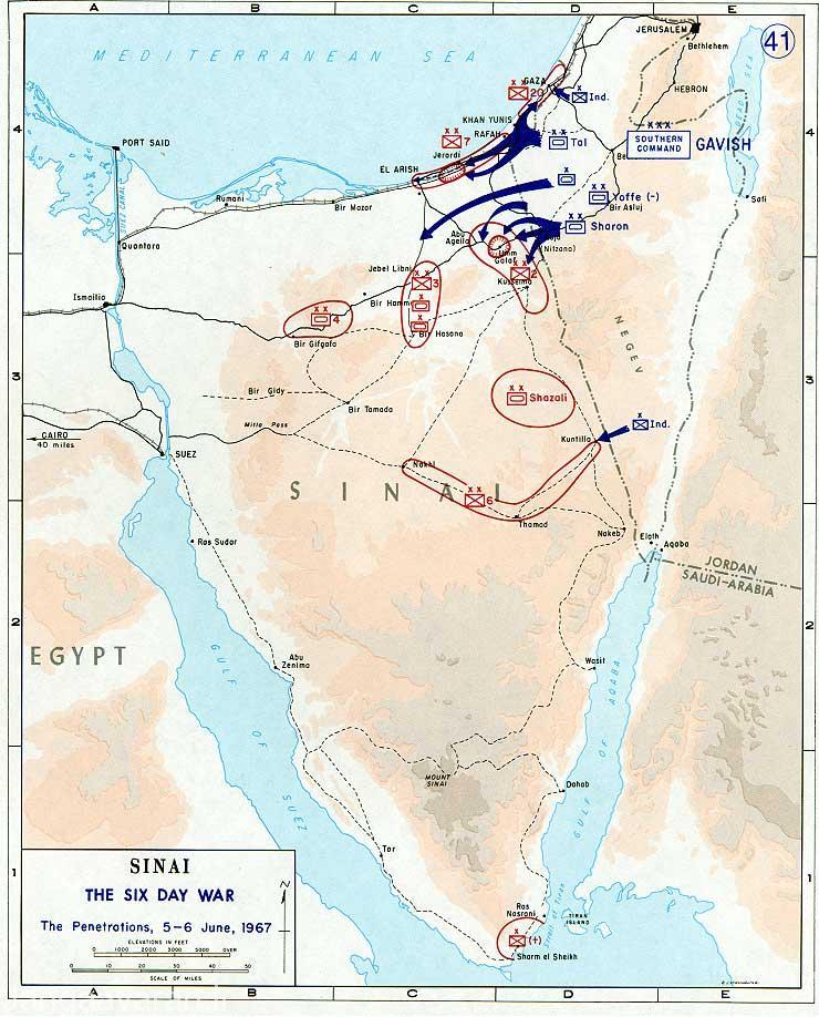 حملات اسرائیلیها در سینا در روز اول و دوم جنگ در شمال صحرای سینا و در مرکز سینا به طرف ابو عقیل