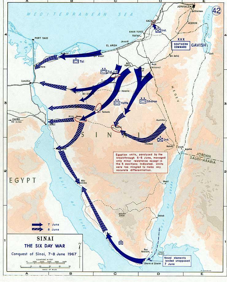 در روز سوم و چهارم جنگ ارتش اسرائیل با اشغال شرم الشیخ کل سینا را اشغال و به سوئز رسدند.