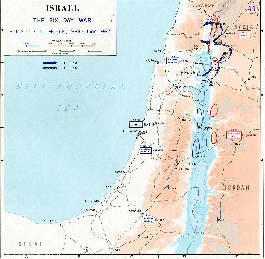 پیشروی نیروهای اسرائیلی در 9 و 10 ژوئن در بلندی های جولان