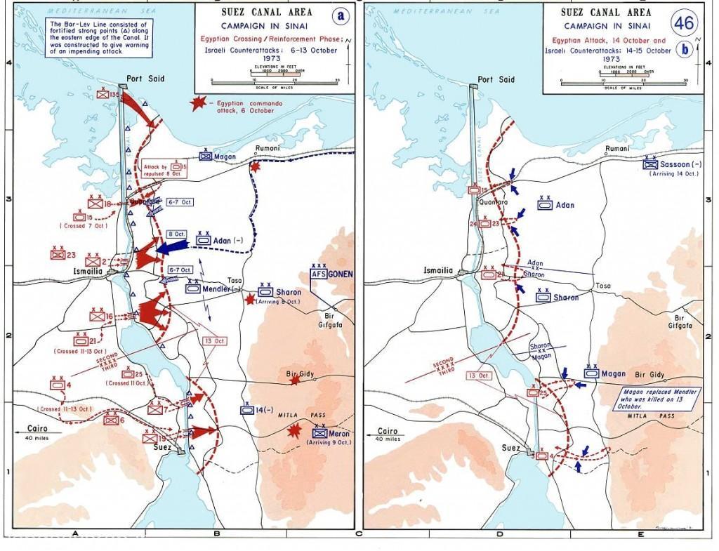 نقشه سمت چپ عبور نیروهای مصری از کانال سوئز (فلشهای قرمز) در پنج نقطه از کانال را در 6 اکتبرنشان می دهد.ن نقشه سمت راست نشان دهنده مقابله به مثل اسرائیلها در چند روز اینده از شروع جنگ است