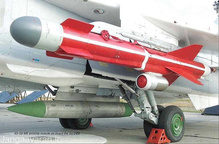 نسخه ضد کشتی خا 59 ام کا بر روی سوخوی24 ام. در زیر بدنه غلاف ارتباطی ای پی کا 9 که برای هدایت نسخه اپتیکی لازم است دیده میشود