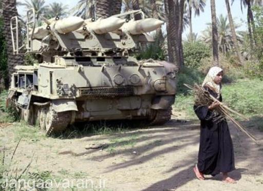 یک سامانه پدافندی سام-6 که در طی جنگ خلیج فارس رها شده است