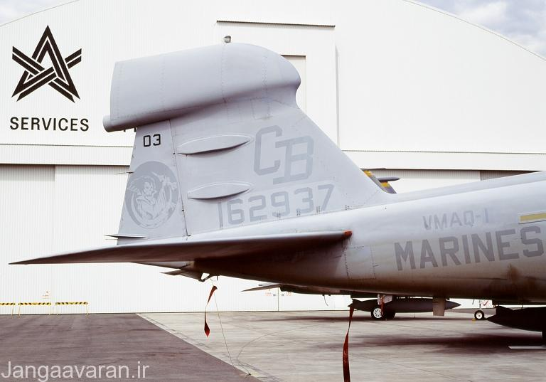 سکان عمودی یک فروند هواپیمای پراولر, تجهیزات مربوط به پاد اخلال الکترونیک ALQ-99 در بالای دم قابل مشاهده است