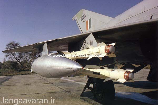 نصب دو موشک ار 60 در زیر جایگاه اولی در زیر بال میگ 21 بیز ارتش هند