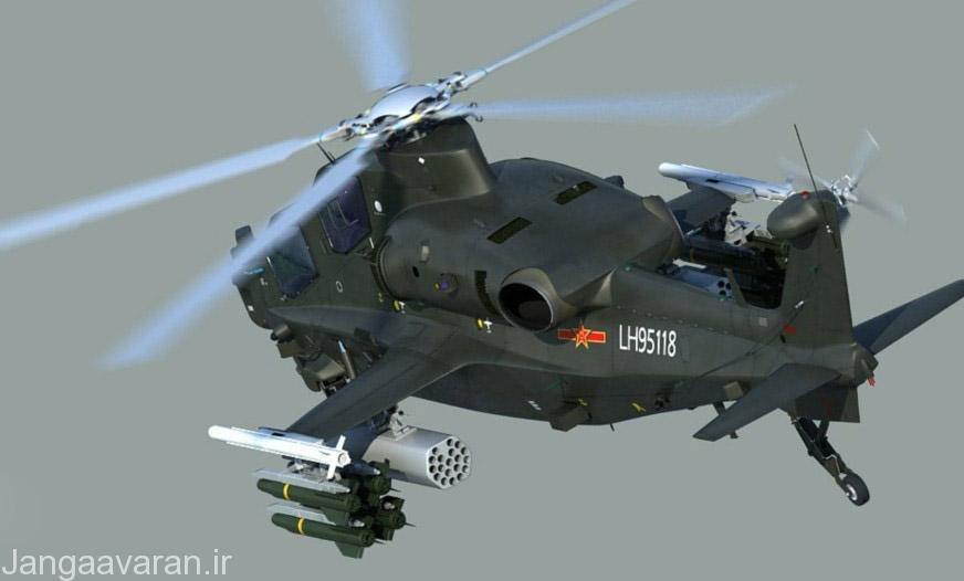 موشک ضد تانک اچ جی 10 زیر بالچه و موشک هوا به هوای پی ال 10 بر سر بالچه..