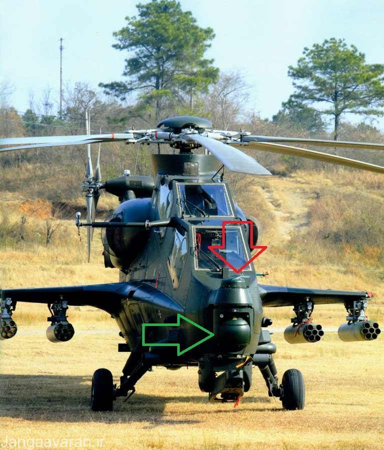 در این تصویر فلش قرمز نشان دهنده سامانه دید شبانه وصل شده به کلاه پرواز خلبان و فلش سبز سامانه نشان گذار لیزری و دید حرارتی برای افسر اسلحه است