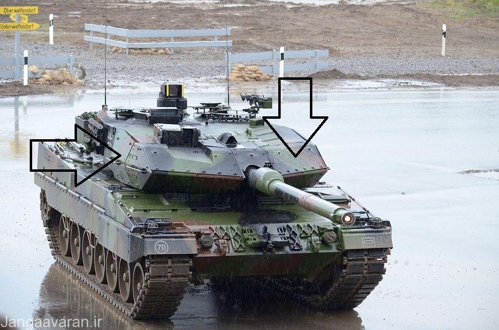 لئوپارد 2 ای 6 . در این تصویر زره ماژولار اضافه شده به برجک کاملا مشخص است که میتوان به راحتی انها را از تانک جدا کرد