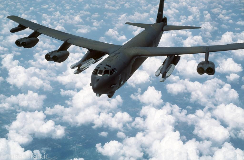 An air-to-air front view of a B-52G Stratofortress aircraft from the 416th bombardment Wing armed with AGM-86B air-launched cruise missiles (ALCMs).