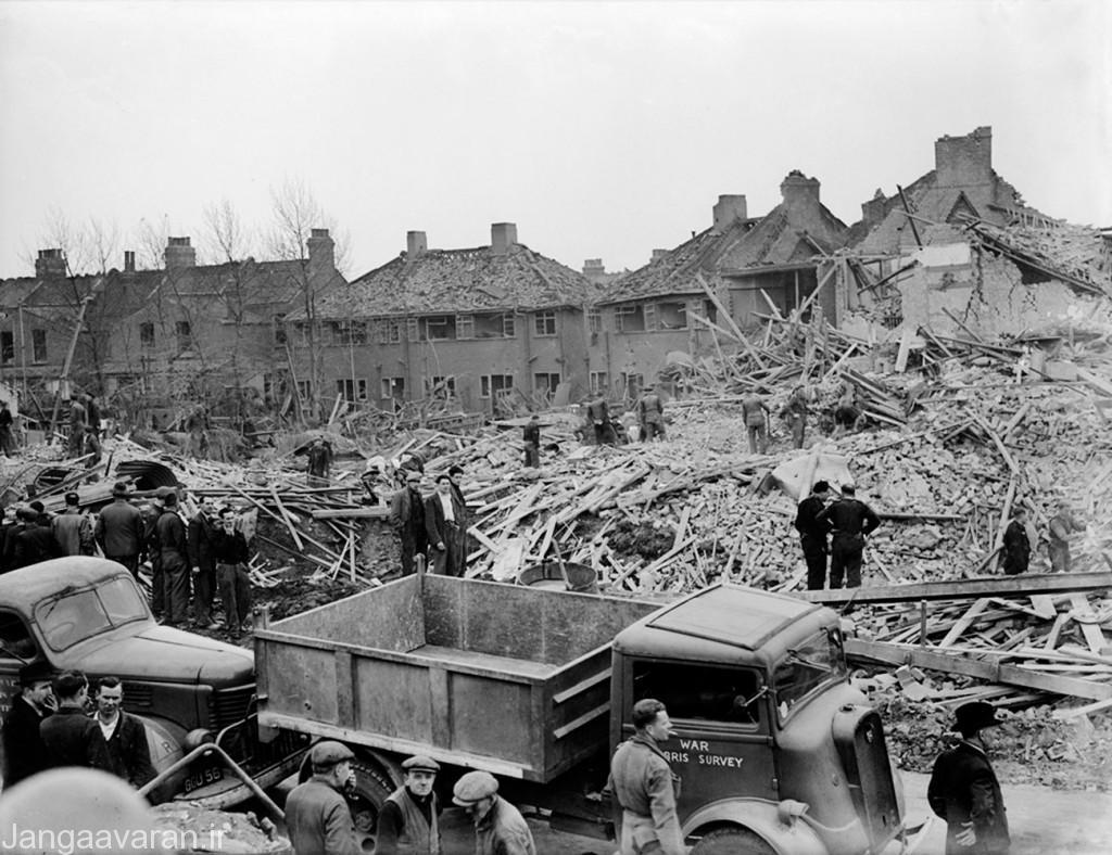 16 مارس سال 1945 و خرابی ناشی از برخورد یک وی 2