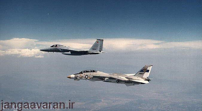 پرواز یک فروند اف-14 و یک فروند اف-15 آمریکایی در کنار یکدیگر