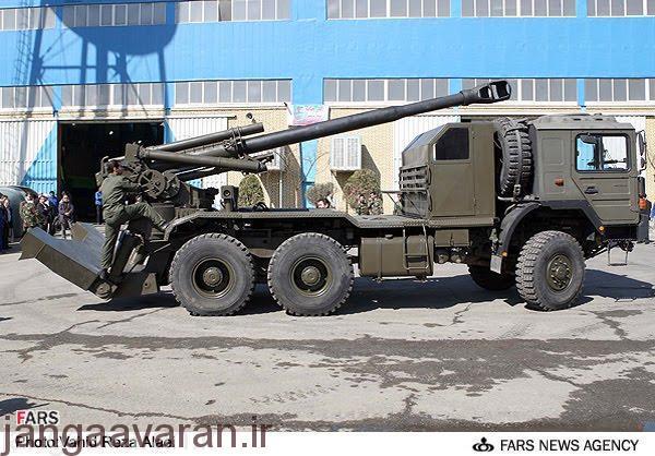 نسخه از توپ 155 م م روی یک خودروی چرخ دار
