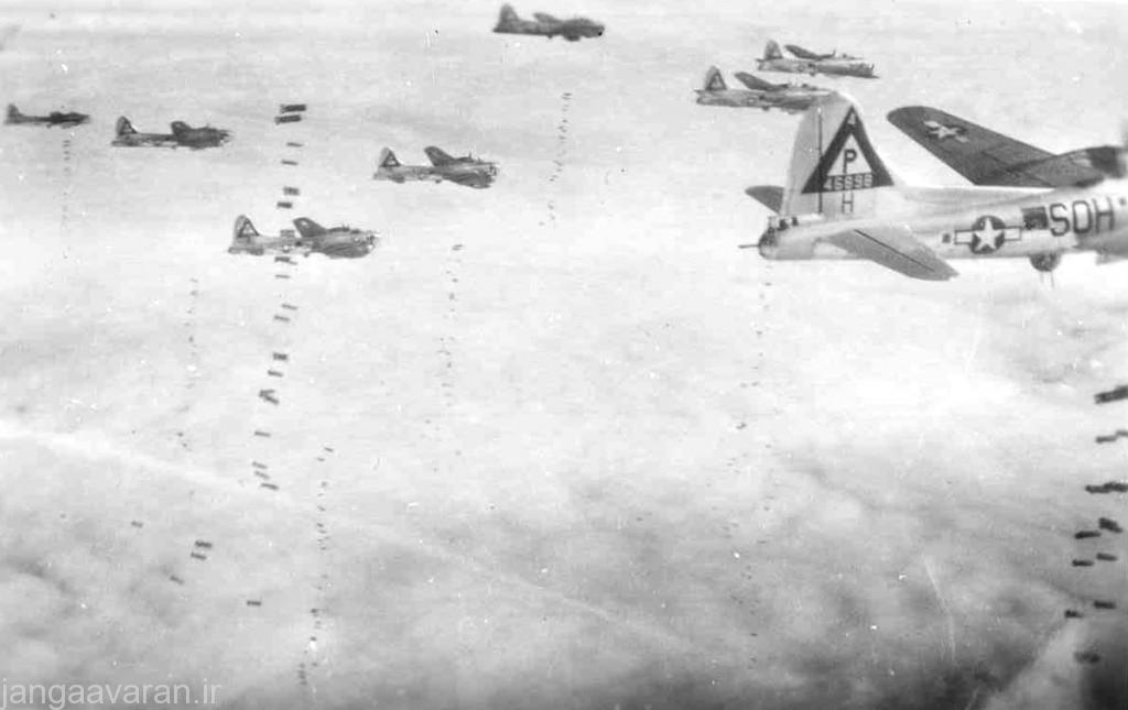 Boeing B-17G formation bomb drop. Closest aircraft (SO-H) is B-17G-70-DL (S/N 44-6898) of the 384th Bomb Group, 547th Bomb Squadron. (U.S. Air Force photo)