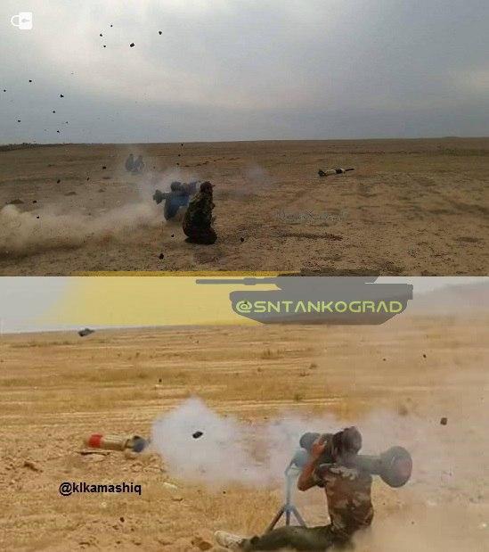 صاعقه 2 (بالای تصویر) موشک هدایت شونده ضد تانک با سرجنگی دو مرحله ای ، صاعقه 4 (پایین تصویر) موشک هدایت شونده با سرجنگی شدیدالانفجار (احتمالا از نوع ترموباریک یا هواسوختی) هر دو از محصولات وزارت دفاع و پشتیبانی نیروهای مسلح ایران و براساس موشک دراگون