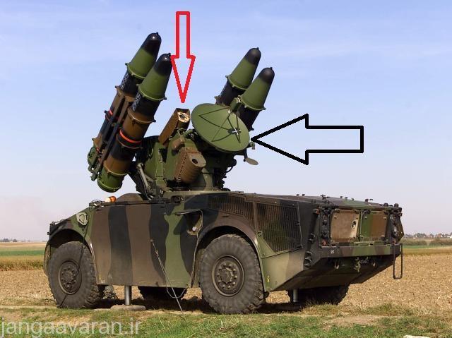در تصویر دوربین اپتیکی با فلش قرمز و انتن رادار درگیری با فلش سیاه نشان داده شده است