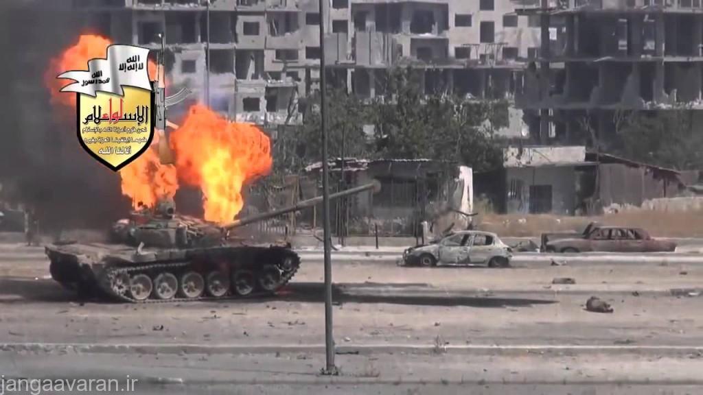تی 72 ارتش سوریه و انهدام توسط ار پی جی 29... نفوذ مهمات و اتش گرفتن مهمات درون تانک