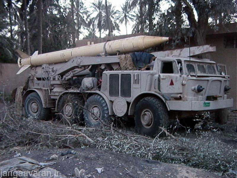 An Iraqi ZIL-135 FROG-7 short-range battlefield support artillery rocket with (8X8) Wheeled Transporter Erector Launcher (TEL), captured by US Marine Corps (USMC) Marines, during Operation IRAQI FREEDOM.