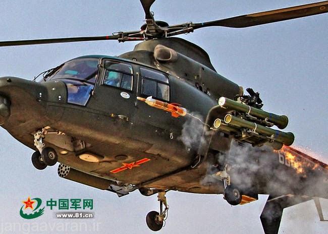 بالگرد WZ-9 در حال شلیک موشکHJ-8