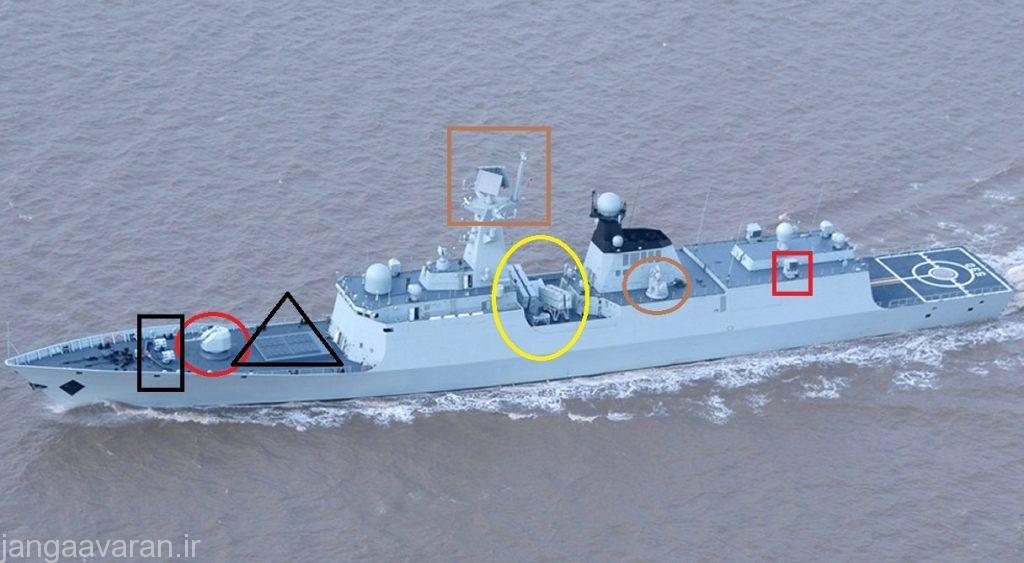 در این تصویر متعلق به TYPE-54A دایره قرمز متعلق به توپ76 م م(در نسخه قبلی 100 م م)،مثلث سیاه سیلوی پرتاب موشک اچ کیو 16،مستطیل سیاه راکت ضد زیر دریایی،مربطه قهوه ای تایپ 382، بیزی زره موشک ضد کشتی سی 803، دیاره قهوه ای توپ 30 م م گاتیلینگ تایپ 730(یک توپ نیز ان سمت است) و مربع قرمز راکت ضد زیر دریایی