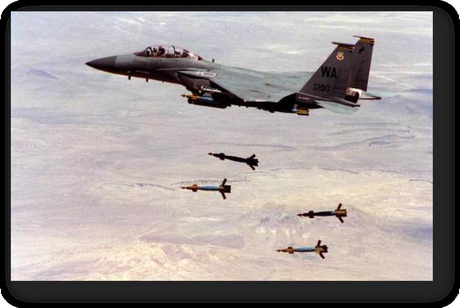 پرتاب چهار بمب لیزری جی بی یو12 .. چند بمب همچنان به هواپیما وصل است