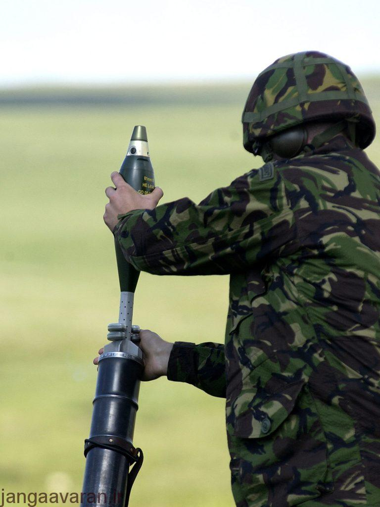 A member of 51 Squadron RAF Regiment, loading a 81mm Mortar before a live firing. 51 Squadron RAF Regiment was on detachment to the Otterburn training area for the live firing of their 81mm Mortars.