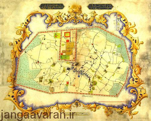 نقشه قدیمی شهر تهران متعلق به دوره محمد شاه در سال 1848 میلادی