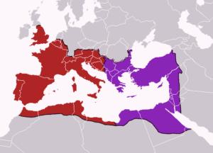 تقسیم امپراتوری روم به دو بخش شرقی و غربی