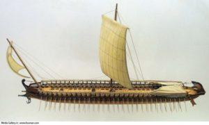 طرح خیالی از کشتی های نیروی دریایی ایران در دروه هخامنشیان