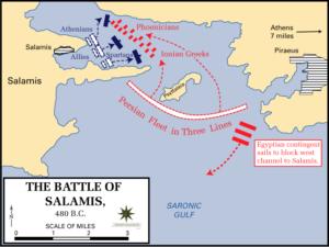 جزییات نبرد سالامیس. آرایش نیروی دریایی ایران با رنگ قرمز و یونان با رنگ آبی مشخص شده