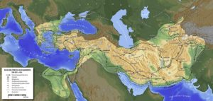 نقشه ایران در زمان حمله اسکندر مقدونی و مسیر لشکرکشی های او