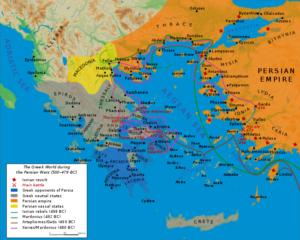 نقشه و محل درگیری های ایران و یونان در زمان داریوش شاه