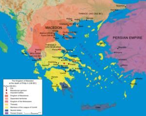 وضعیت امپراتوری ایران یونان و کشور تازه قدرت گرفته مقدونیه در اواخر دوران اردشیر سوم