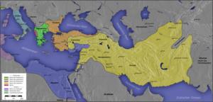 میراث تقسیم شده اسکندر مابین سردارانش. منطقه زرد رنگ همان امپراتوری سلوکیان است