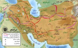مسیر لشکرکشی های اردشیر بابکان در سال های آغازین سلطنت