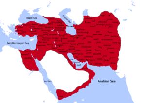 گستره قلمرو ساسانیان که در زمان خسرو پرویز به اوج خود رسید