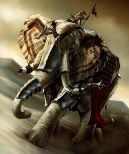 فیل های جنگی ساسانیان که موجب هراس اعراب مسلمان شده بود