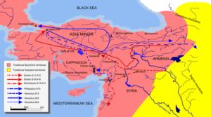 مسیر لشکرکشی ایران ساسانیان و بیزانس در خاک یکدیگر ساسانیان با فلش قرمز و ارتش هراکلیوس با فلش آبی مشخص شده اند