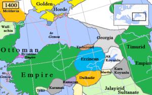 امپراتوری مسیحی ترابوزان در شرق آناتولی در روزهای اوج قدرت. شاهزادگان این امپراتوری بعدها تبدیل به اجداد پادشاهان صفوی شدند