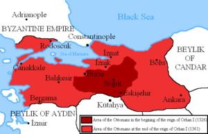 گسترش چشم گیر قلمرو عثمانی در دوران سلطنت اورحان اول
