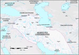 نقشه دولت آق قویونلو که تا زمان مرگ اوزون حسن به اوج قدرت خود رسید