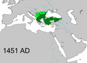وسعت قلمرو عثمانی تا پیش از فتح قسطنطنیه