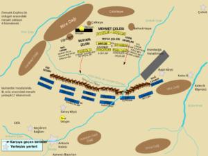 نقشه نبرد آنقره یا آنکارا. نیروهای تیمور به رنگ آبی و بایزید با رنگ زرد مشخس شده