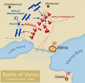 نقشه نبرد وارنا. نیمی ازاروپا در این جنگ صلیبی در مقابل عثمانی قرار گرفت