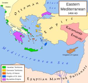 جزیره رودس قلمرو شوالیه های سنت جان با رنگ آبی در نقشه مشخص شده علی رغم کوچکی قلمرو برای امپراتوری عثمانی دردسرهای جدی درست کردند