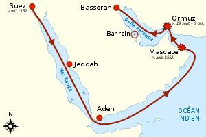 مسیر لشکرکشی های دریایی عثمانی از دریای سرخ تا خلیج فارس