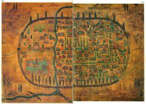 نقشه شهر تبریز در قرن شانزدهم. این نقشه توسط جغرافی دان های ارتش عثمانی کشیده شده